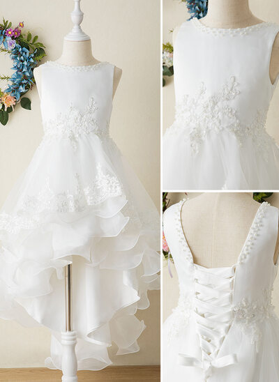 Ball-Gown/Princess Asymmetrical Flower Girl Dress - Organza/Satin Sleeveless Scoop Neck With Bow(s)
