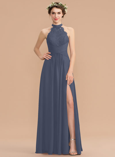 A-Line High Neck Floor-Length Chiffon Lace Bridesmaid Dress With Ruffle Split Front