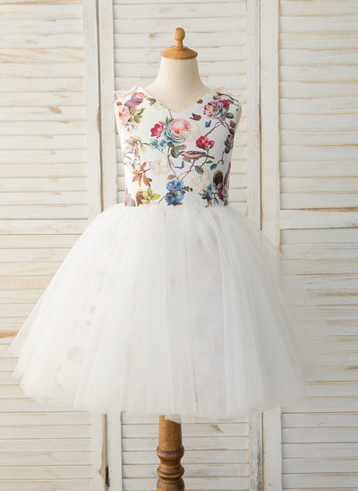 Áčkové Šaty Po kolena Flower Girl Dress - Satén/Tyl Bez rukávů Scoop Neck