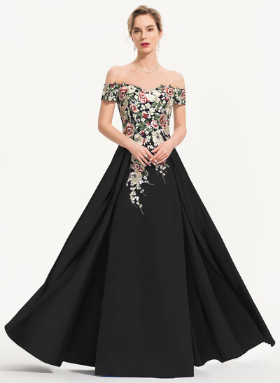 A-Linie Off-the-Schulter Bodenlang Satin Abendkleid