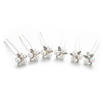 Ladies Lovely Crystal/Imitation Pearls Hairpins With Venetian Pearl/Crystal (Set of 5)