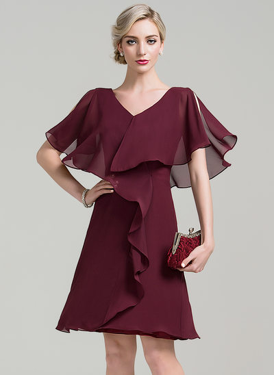A-Line V-neck Knee-Length Chiffon Mother of the Bride Dress With Cascading Ruffles