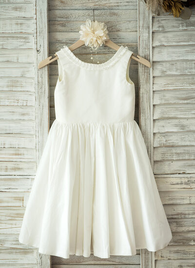 Princesový Po kolena Flower Girl Dress - Bavlna Bez rukávů Scoop Neck