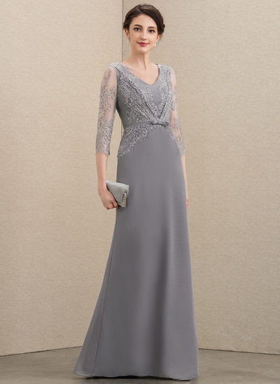 A-Line V-neck Floor-Length Chiffon Lace Mother of the Bride Dress With Bow(s)