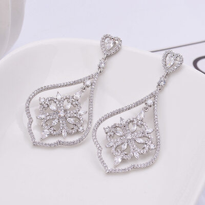 Ladies' Shining Copper/Platinum Plated With Cubic Cubic Zirconia Earrings For Bridesmaid/For Friends