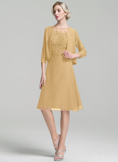 A-Line/Princess Scoop Neck Knee-Length Chiffon Mother of the Bride Dress With Beading Sequins