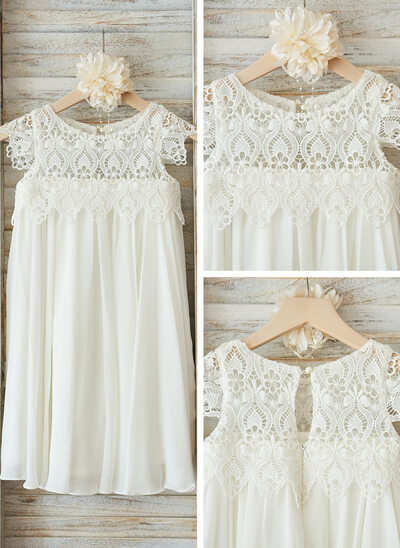 Empire Knee-length Flower Girl Dress - Chiffon/Lace Sleeveless Scoop Neck With Ruffles