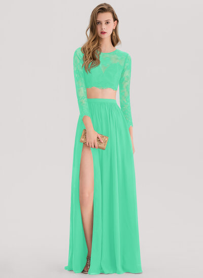 A-Line/Princess Scoop Neck Floor-Length Chiffon Prom Dresses With Split Front