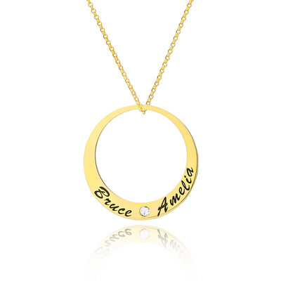Custom 18k Gold Plated Silver Engraving/Engraved Circle Two Name Necklace With Diamond