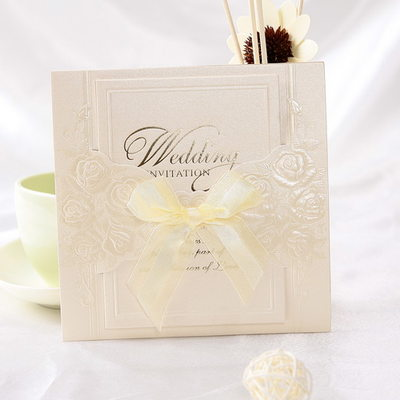 Klasik Stil Wrap & Cep Invitation Cards Ile Saten Kurdele