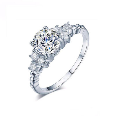 Sterling Silver Cubic Zirconia Dainty Vintage Round Cut Engagement Rings Promise Rings