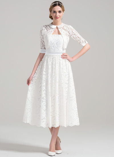 A-Line/Princess Strapless Tea-Length Lace Wedding Dress