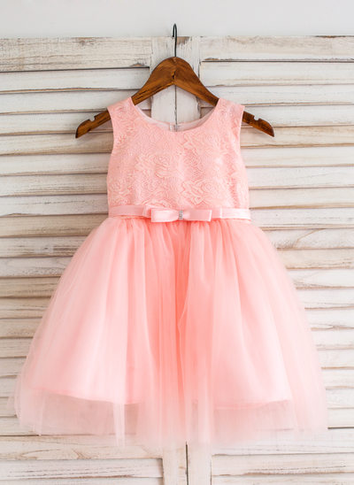 Ball-Gown/Princess Knee-length Flower Girl Dress - Tulle/Lace Sleeveless Scoop Neck With Bow(s)