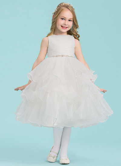 A-Line/Princess Knee-length Flower Girl Dress - Organza Sleeveless Scoop Neck With Beading/Pleated