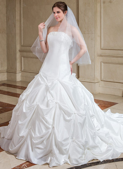 Ball-Gown Strapless Cathedral Train Taffeta Wedding Dress With Ruffle Flower(s)
