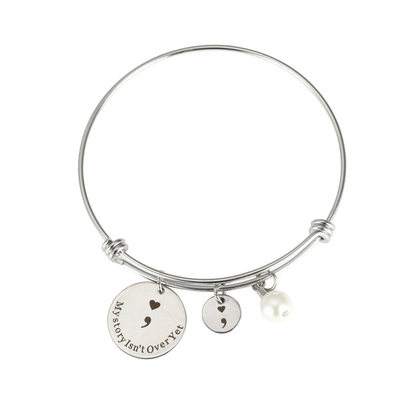 Custom Silver Pearl Bangle Bangles & Cuffs Engraved Bracelets