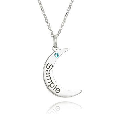 Custom Sterling Silver Moon Engraving/Engraved Birthstone Necklace Engraved Necklace With Cubic Zirconia - Birthday Gifts Mother's Day Gifts