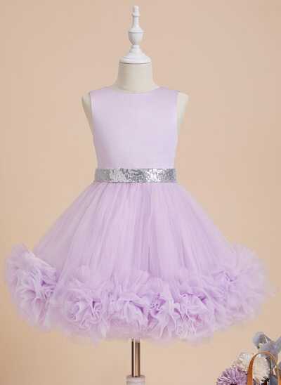 Ball-Gown/Princess Knee-length Flower Girl Dress - Satin/Tulle Sleeveless Scoop Neck With Flower(s)/Sequins