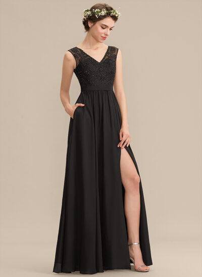 A-Line V-neck Floor-Length Chiffon Lace Prom Dresses With Beading Sequins Split Front Pockets
