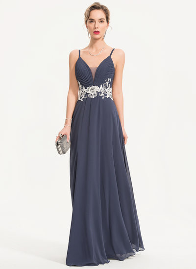 A-Line Sweetheart Floor-Length Chiffon Evening Dress With Lace Beading Sequins