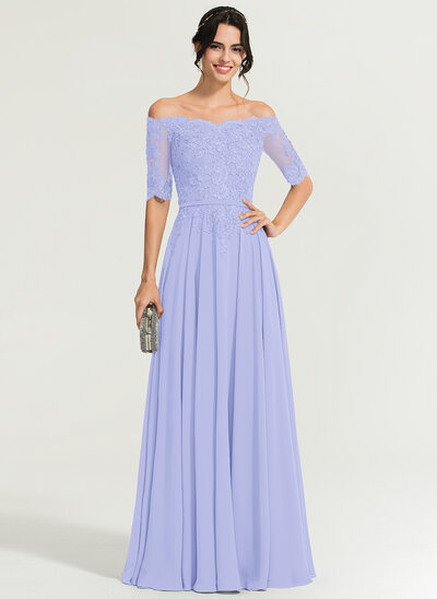 A-Line/Princess Off-the-Shoulder Floor-Length Chiffon Evening Dress With Beading
