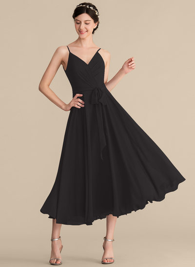 A-Line V-neck Tea-Length Chiffon Cocktail Dress With Ruffle Bow(s)