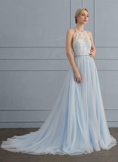 A-Line/Princess Halter Court Train Tulle Wedding Dress With Beading