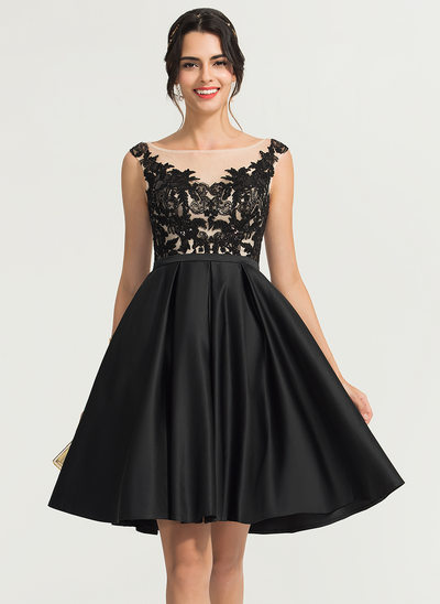A-Line Scoop Neck Knee-Length Satin Cocktail Dress