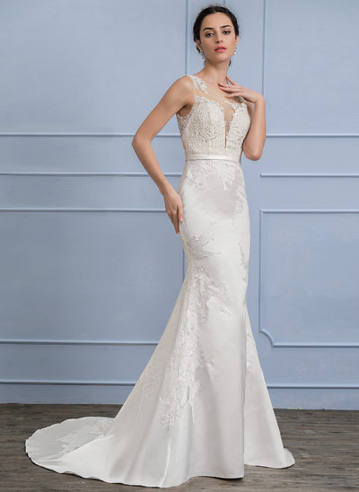 Trumpet/Mermaid Illusion Court Train Satin Lace Wedding Dress With Beading Sequins
