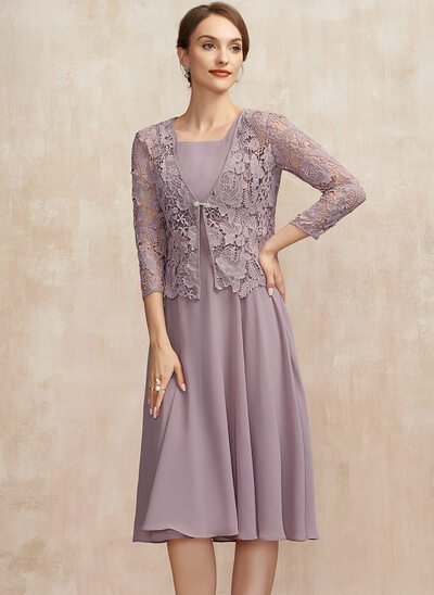 A-Line Square Neckline Knee-Length Chiffon Mother of the Bride Dress