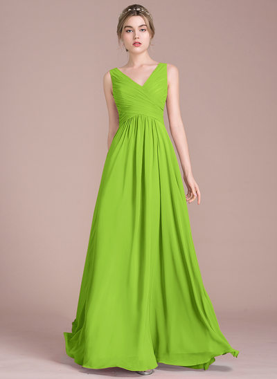 A Line Princess V Neck Floor Length Chiffon Bridesmaid Dress With Ruffle