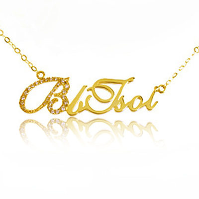 Personalized Ladies' Sparking Gold Plated With Round Cubic Zirconia Name Necklaces Necklaces For Bride/For Mother/For Friends