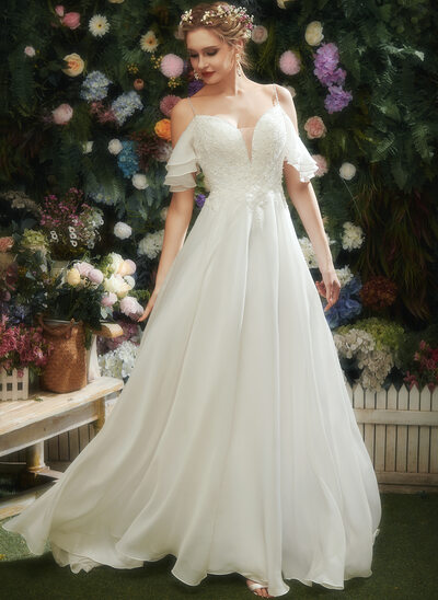 A-Line Sweetheart Court Train Wedding Dress With Ruffle Beading Sequins