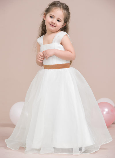A-Line/Princess Floor-length Flower Girl Dress - Organza/Satin Sleeveless Straps