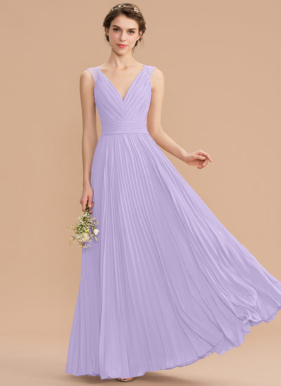 A-Line V-neck Floor-Length Chiffon Lace Bridesmaid Dress With Pleated