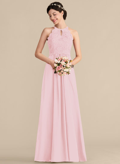 d47d83555813 A-Line Princess Scoop Neck Floor-Length Chiffon Lace Bridesmaid Dress