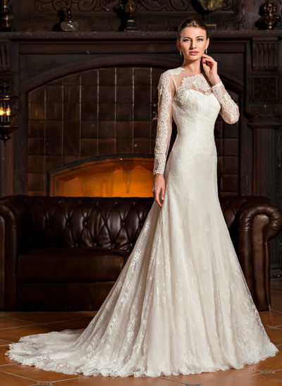 Trumpet/Mermaid Scoop Neck Sweep Train Tulle Lace Wedding Dress
