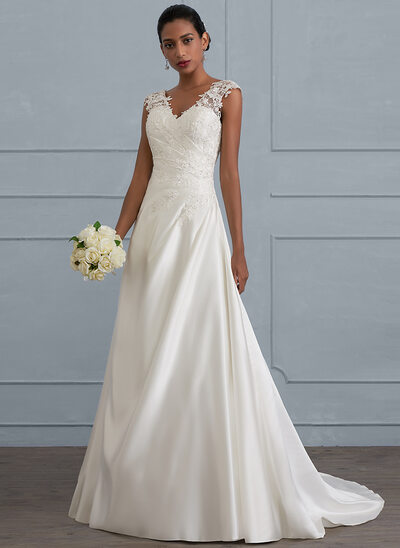 Ball-Gown V-neck Sweep Train Satin Wedding Dress With Ruffle Beading Sequins