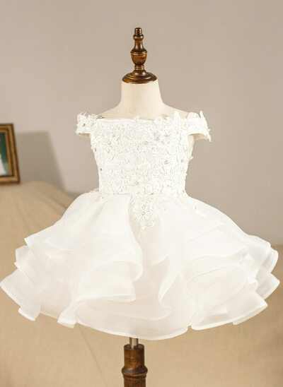 Ball Gown Knee-length Flower Girl Dress - Organza Sleeveless Off-the-Shoulder With Ruffles/Appliques