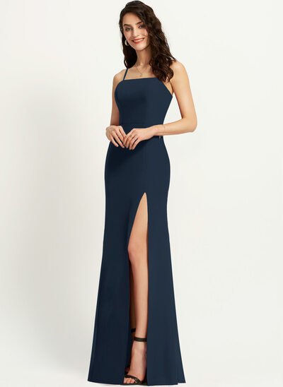 Sheath/Column Square Neckline Floor-Length Prom Dresses With Split Front