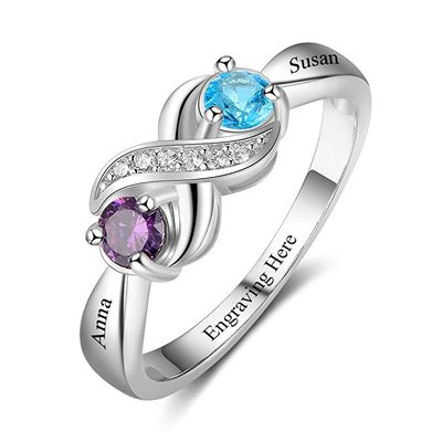 Personalized Elegant S925 Sliver Round Cubic Zirconia/Birthstone Rings For Bride/For Friends/For Couple
