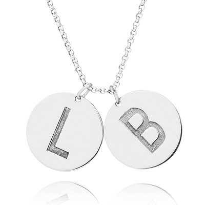 Christmas Gifts For Her - Custom Sterling Silver 18k Gold Plated Silver Letter Coin Two Initial Necklace Circle Necklace