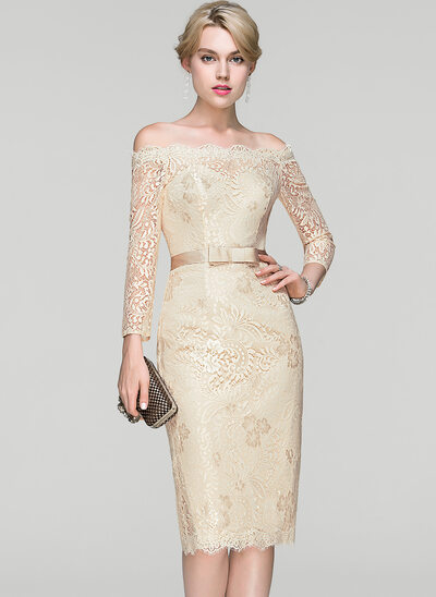 Sheath/Column Off-the-Shoulder Knee-Length Lace Cocktail Dress With Bow(s)