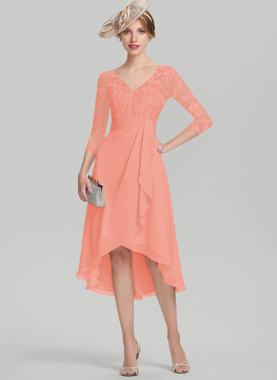 A-Line/Princess V-neck Asymmetrical Chiffon Lace Mother of the Bride Dress With Cascading Ruffles