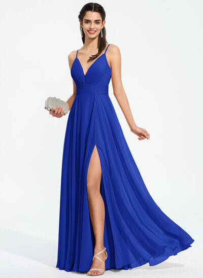 A-Line V-neck Floor-Length Chiffon Prom Dresses With Ruffle Split Front