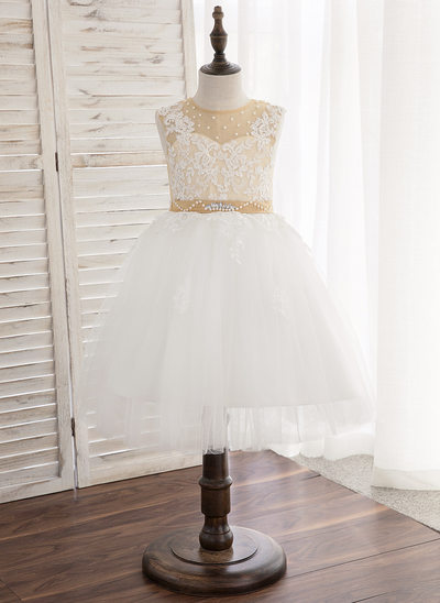 A-Line/Princess Knee-length Flower Girl Dress - Satin/Tulle/Lace Sleeveless Scoop Neck With Beading