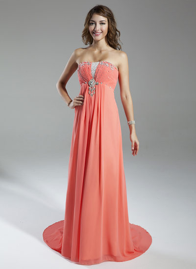 Empire Sweetheart Watteau Train Chiffon Holiday Dress With Ruffle Beading
