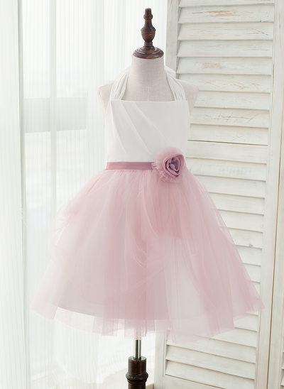 A-Line/Princess Knee-length Flower Girl Dress - Chiffon/Tulle Sleeveless Halter With Flower(s) (Undetachable sash)