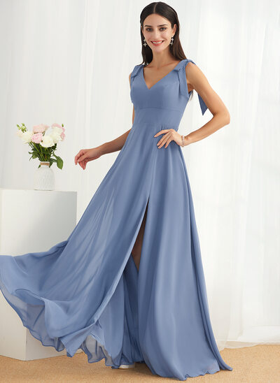 A-Line Square Neckline Floor-Length Bridesmaid Dress With Bow(s) Split Front
