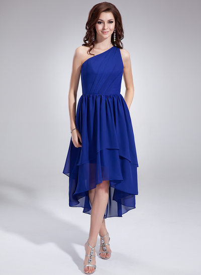 A-linje One-Shoulder Asymmetrisk Chiffon Homecoming Kjole med Flæsekanter